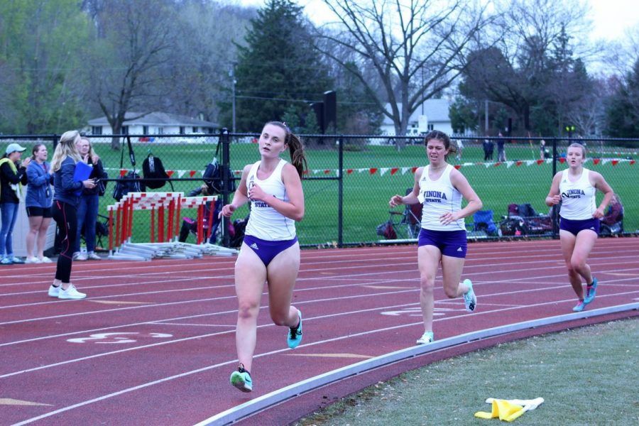 Winona State track team members compete in the 1500m during the annual Cardinal Open at St Mary's University on Thursday, April 25.