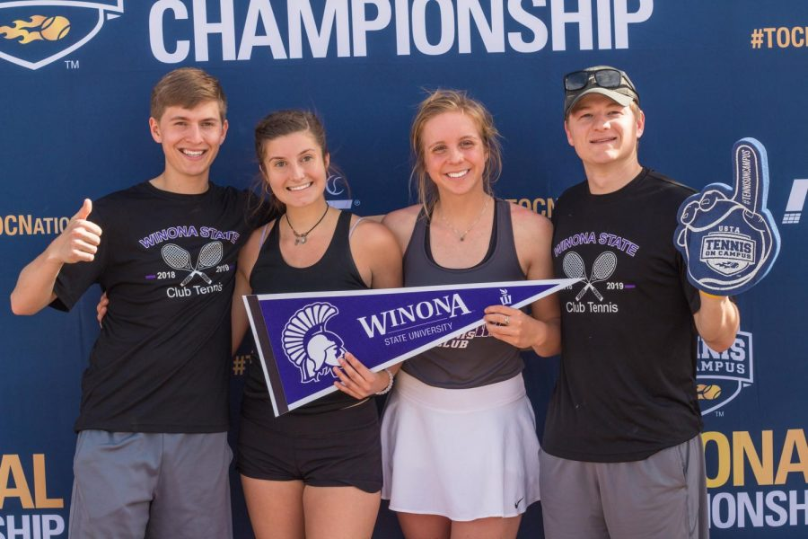 Left to right: Members of Winona State's club tennis Ryan Morgans, Veronica Johnson, Rebekah Zwiener and Austin Houska traveled to Suprise, Arizona for the USTA National Championship on Thursday, April 11.