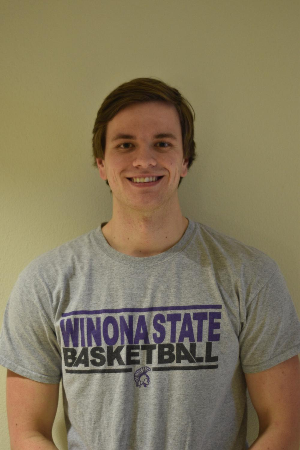 Junior Brandon Goebel is moving to up to the men's basketball team after serving as the team's team manger.