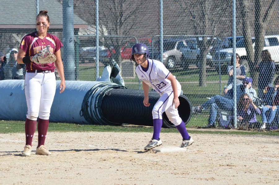 Kayla Kerkman prepares to advance to second base on Friday, April 19 during a double header against the University of Minnesota Duluth. The Warriors won both games, scoring 6-5 in the first game and 3-2 in the second after playing into the tenth inning