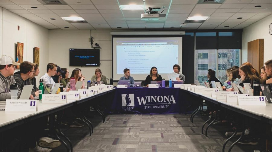 Winona+State+Student+Senate+met+on+Wednesday%2C+April+17+in+the+Purple+Rooms%2C+one+of+the+main+topics+discussed+was+the+availability+of+textbooks+for+popular+general+education+courses.++