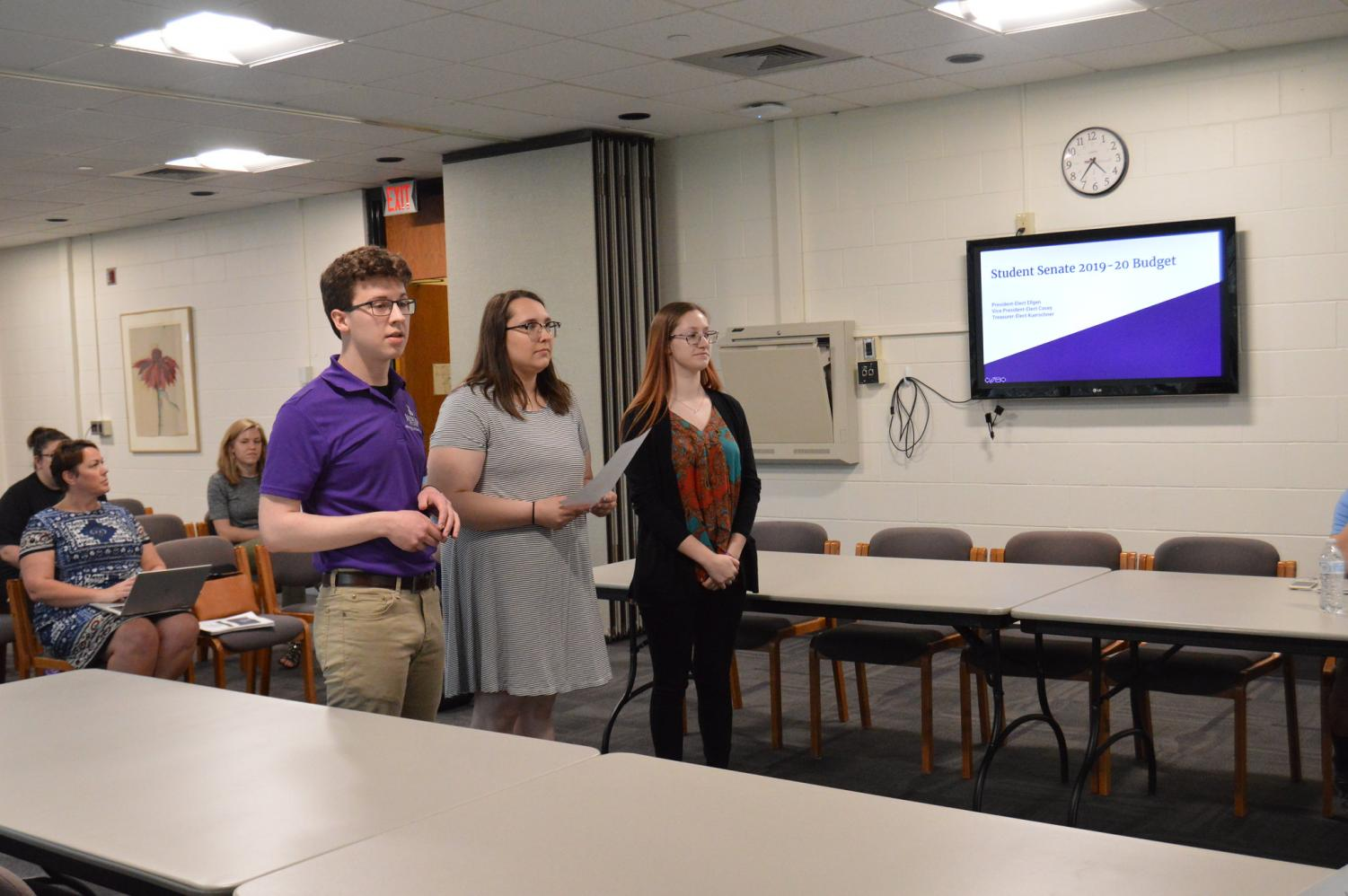 Newly elected President Ben Ellgen, Vice President Lizzie Casey and Treasurer Clara Kuerschner presented the Student Senate Budget for the 2019-20 school year. The proposal included raising executive salaries and cutting various other budgets.