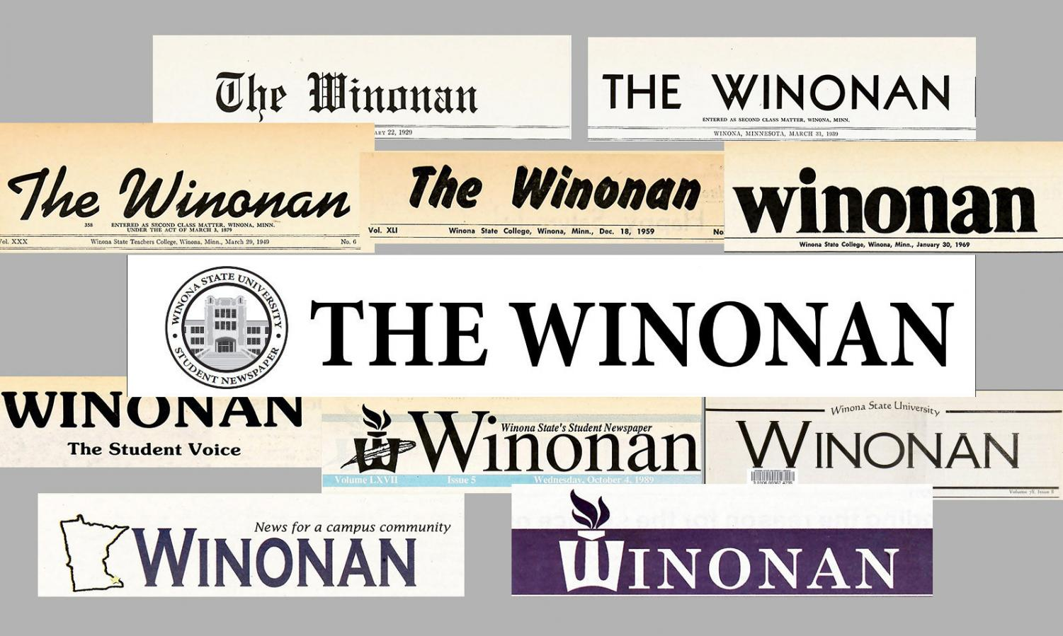 "A collage of the Winonan logo as it changed through each decade starting in 1920. In celebration of 100 years in print the Winonan will be hosting different events such as ""Media Mondays,"" a speaker series and hosting a centennial celebration during the official centennial weekend at the end of October."