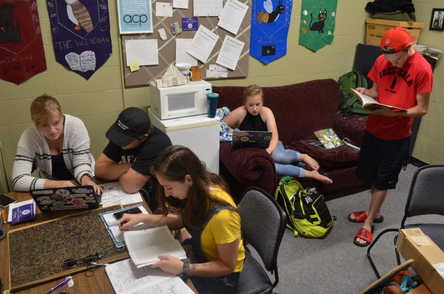 Left to right: News Editor Madelyn Swenson, Editor-In-Chief Zach Bailey, Copy Editor Morgan Reddekopp, Features Editor Sydney Mohr and Sports Editor Mitchell Breuer. The editing staff of the Winonan meet every Monday night to design each new issue of the Winonan.