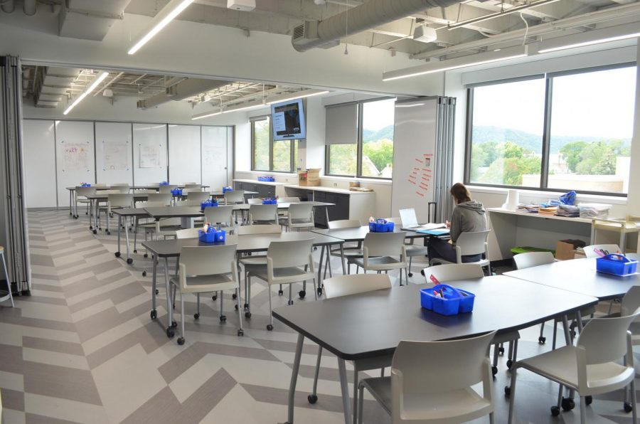 Each classroom in Helble Hall is designed to be a movable and interactive learning space, the hope is that Education Village make Winona State a national leader for teacher preparation.