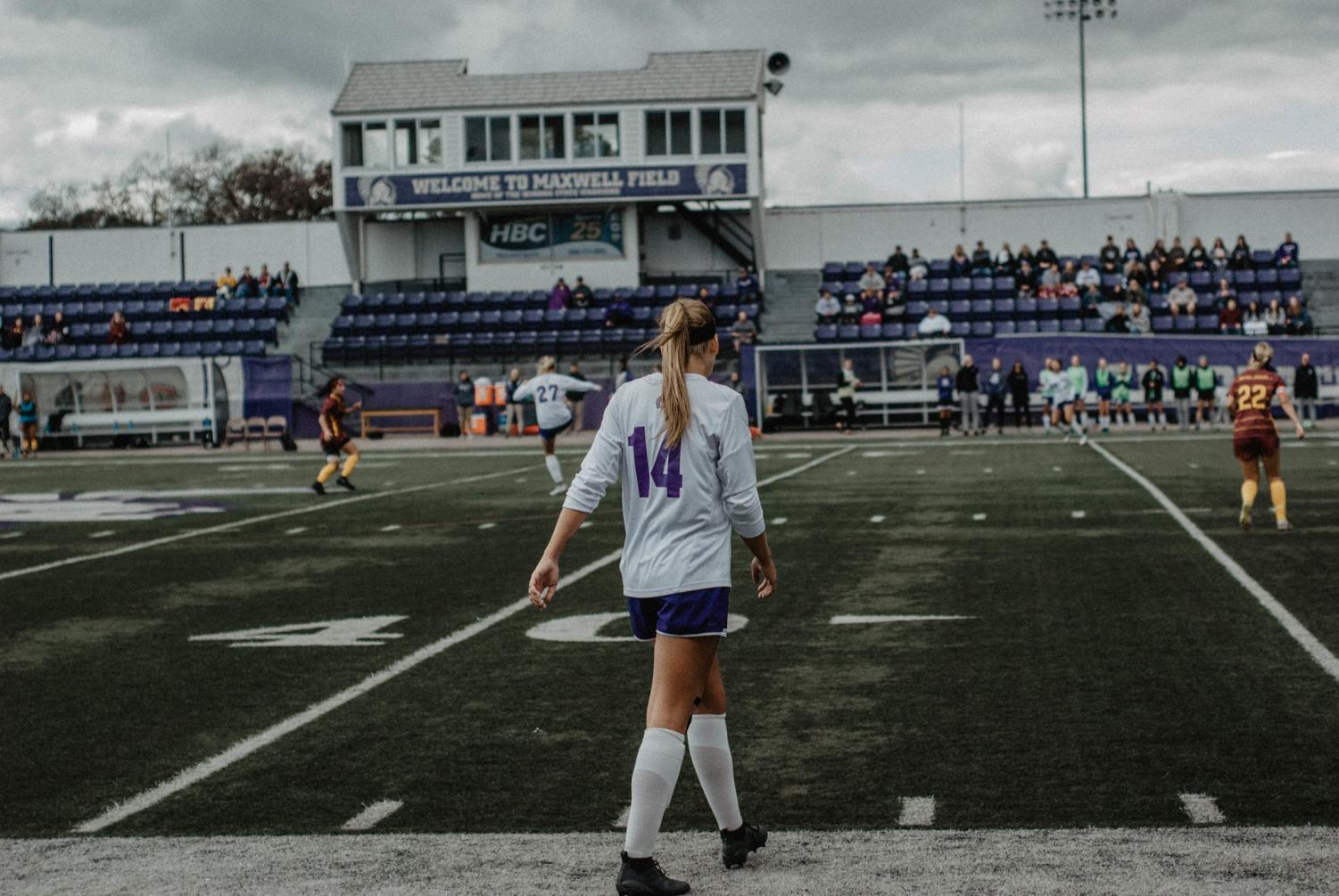 Mackenzie Challoner paces Maxwell Filed during a home meet. Challoner, who served as a defender for the Warriors, was one of six players that graduated during the offseason.
