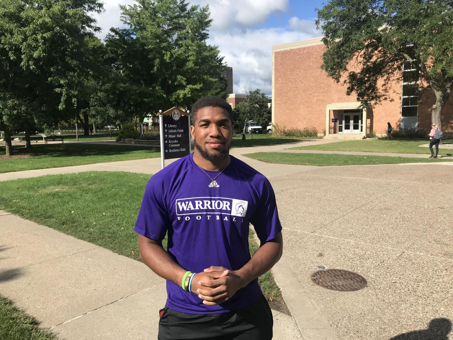 Senior Running Back Javian Roebuck (#32) posed for photos Friday, September 6th before the big game tomorrow, September 7th,  against Wayne State College.