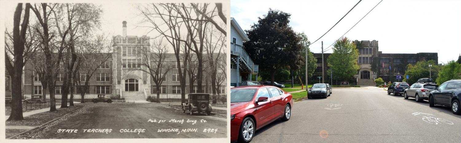 "Winona State University was the first ""normal school"" opened west of the Mississippi and only 20 students were enrolled in the  school's only program, a 2-year teaching program. College Hall, now known as Somsen, was built in 1866 as the college's first permanent building. The picture on the left was contributed by the Darrell W. Krueger Library."