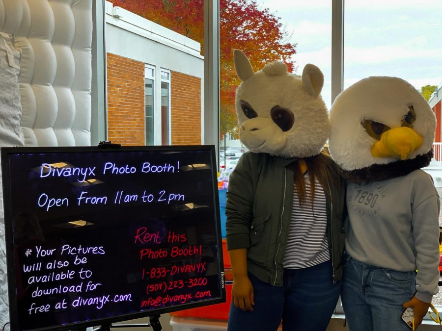 Left to right: Arina Maharjan and Samina Sherchan, international students at Winona State, stand by the photo booth at the Club Fair on Friday, Oct. 11 in Kryzsko Commons.