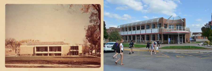 Left: Kryzsko Commons prior to the renovations in the 1970s. The building has since been expanded to accommodate the growth in enrollment. Picture on the left contributed by the Darrell W. Krueger Library.
