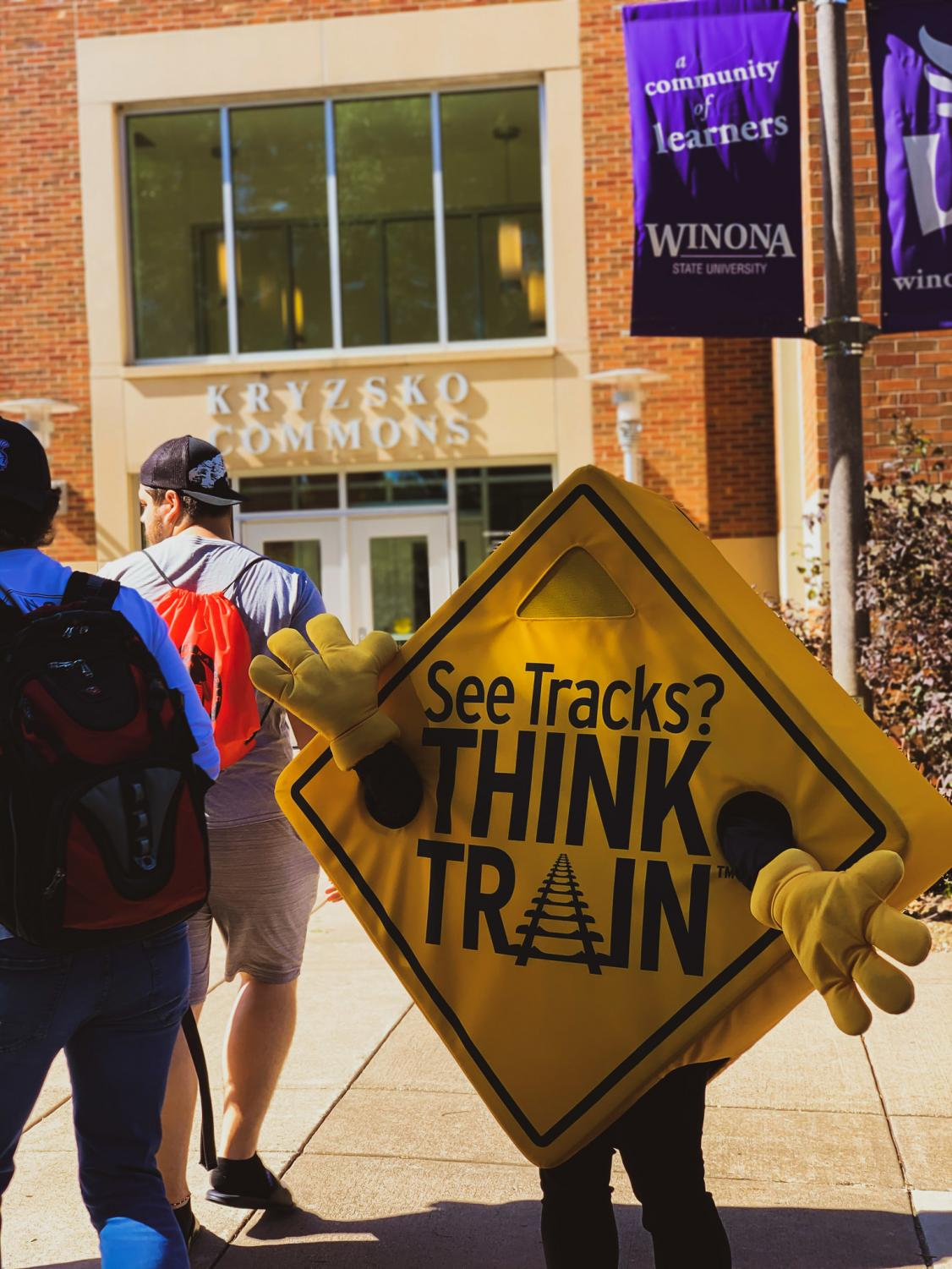 """Cheryl Cummings, the head of Minnesota operations, promotes rail safety during the """"Operation Life Saver Minnesota"""" event outside of Kryzsko Commons on Wednesday, Sept. 25."""