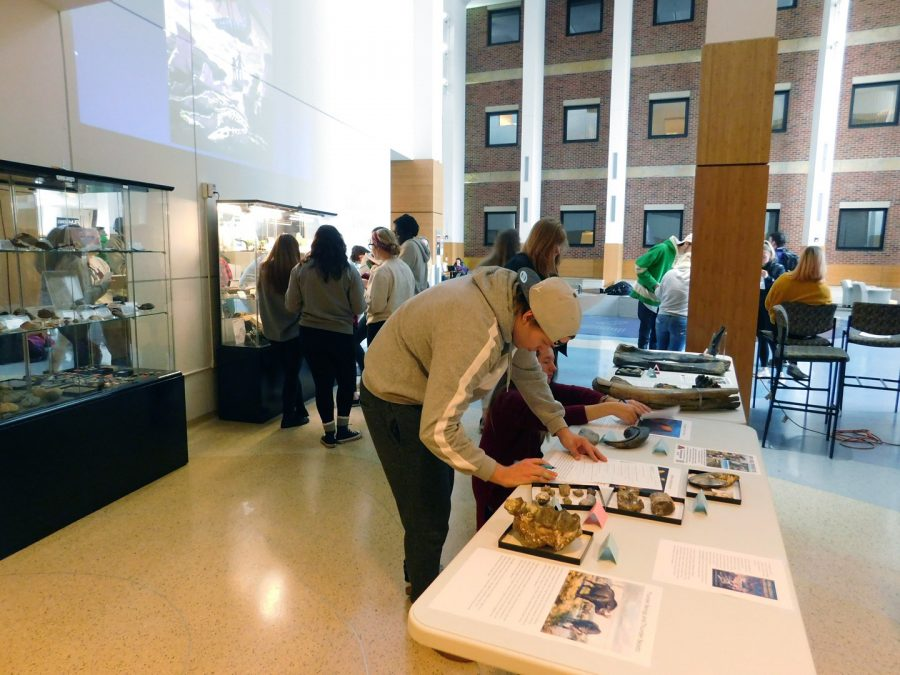 A+celebration+of+National+Fossil+Day+was+held+on+Wednesday%2C+Oct.+16+in+the+SLC+Atrium%2C+students+could+view+and+touch+some+dinosaur+fossils+and+participate+in+a+mock+dinosaur+dig+during+the+event.