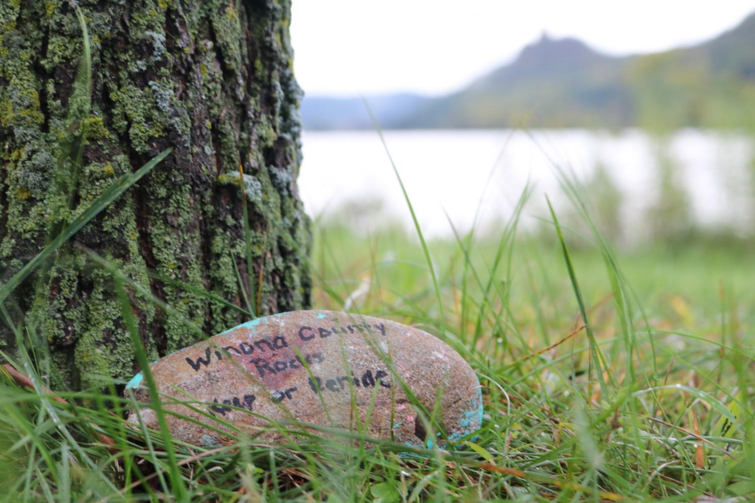 """The """"Winona County Rocks"""" Facebook group paints and hides rocks around Winona. People who find the rocks are encouraged to share the photo to the page and either keep or relocate the rock for someone else to find."""