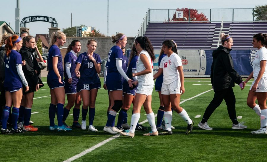 The+Winona+State+soccer+team+congratulates+players+from+Minot+State+University+after+their+game+on+Sunday%2C+Oct.+27+at+Altra+Federal+Credit+Union+Stadium+where+the+Warriors+won+3-0.