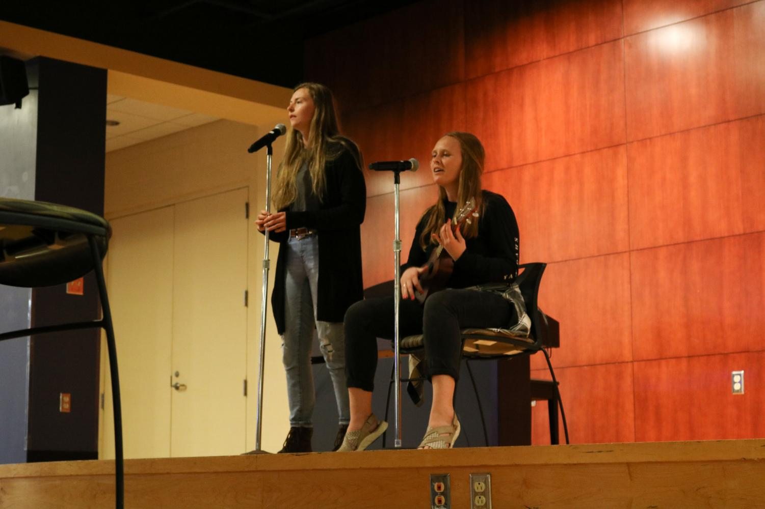 "Seniors Emalee Smith and Kimberly Olson sing Colbie Caillat's ""Brighter Than The Sun"" while Olson accompanies on ukulele at Winona State's Got Talent Preliminary Show on Sunday, Sept. 29."