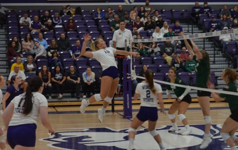 Sophomore middle blocker Madison Rizner spikes the ball against the Bemidji State Beavers on Friday, Sept. 27 in McCown Gymnasium. The Warriors won back-to-back games over the weekend, scoring 3-1 against Bemidji and 3-0 against the University of Minnesota Crookston.