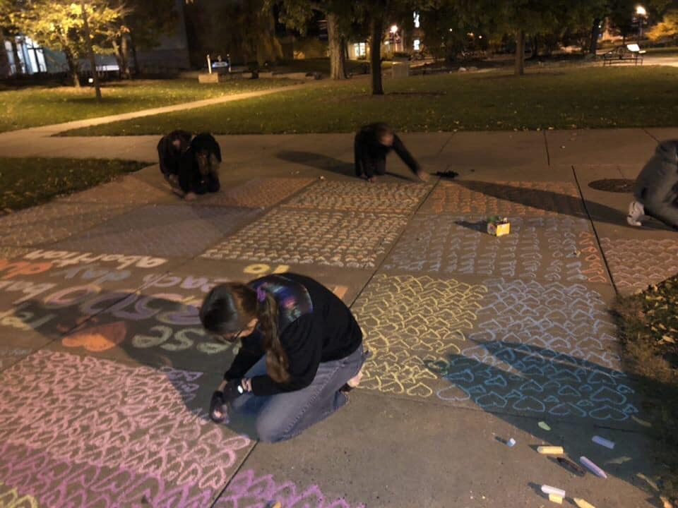 In a picture contributed by Warriors for Life, members of the pro-life club wrote messages about abortion and other issues surrounding it. The group chalked across campus the evening of Wednesday, Oct. 23.