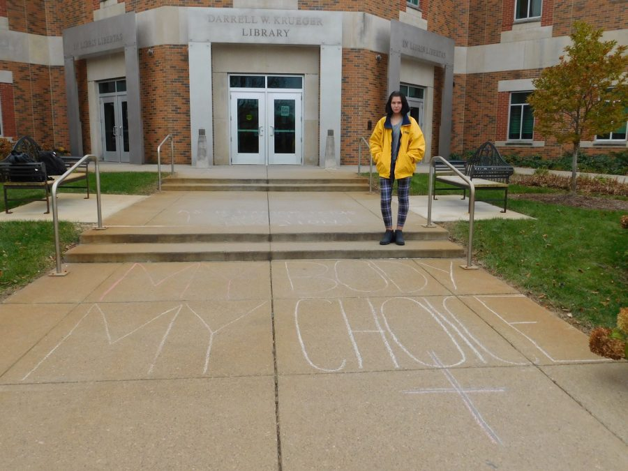 Kelly, a junior social work major and women gender and sexuality studies minor, was one of many people who wrote pro-choice messages on campus the morning of Thursday, Oct. 24, after seeing pro-life messages that were written overnight.
