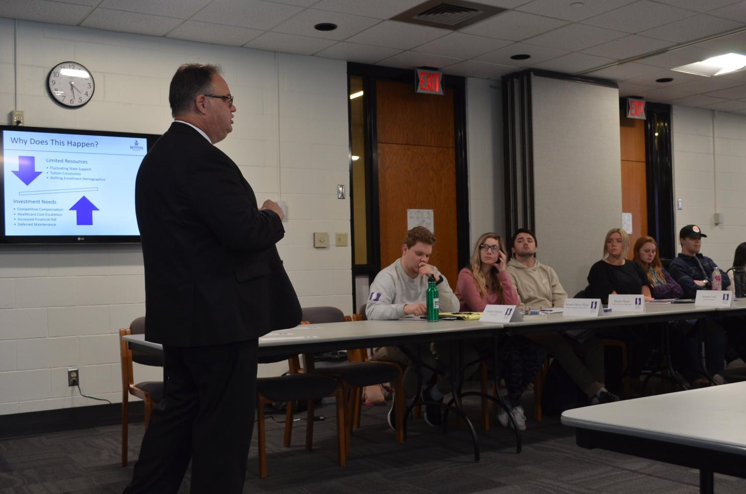 Scott Ellinghuysen speaks to student senate about the financial budget for the 2020-21 school year, currently the university is facing a 3-5% budget reduction however the budget has not yet been finalized.