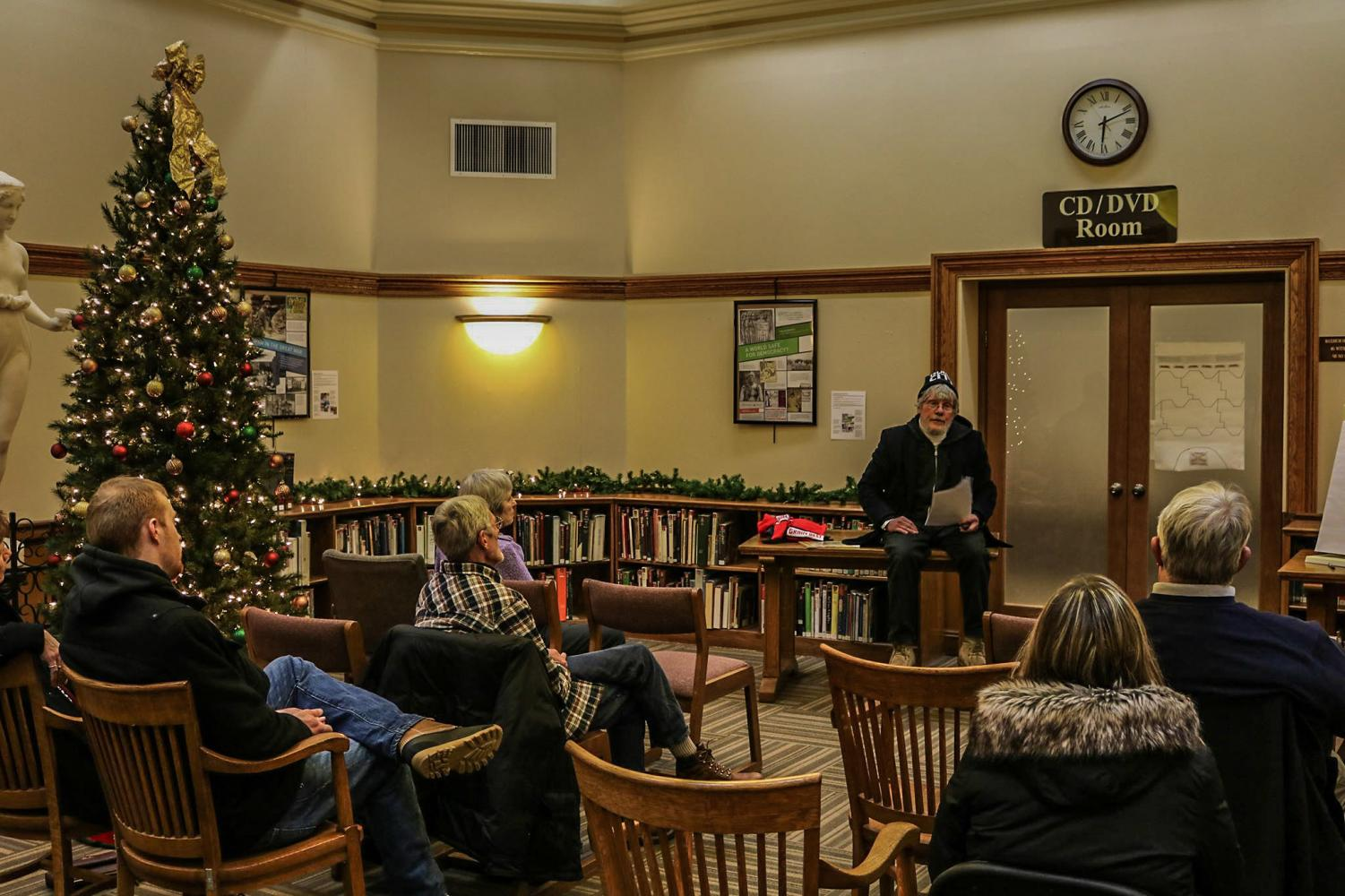 """Scot Simpson, volunteer at Winona County Historical Society, gives a presentation titled """"The War to End All Wars... or Not: A Brief Overview of the First World War""""."""