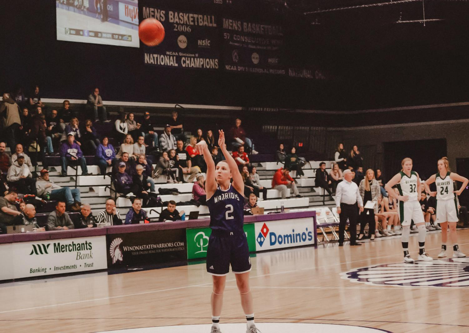 Winona State sophomore, Allie Pickrain makes a single shot at the home game on Saturday, Nov. 16 against Bemidji State. The Warriors emerged victorious scoring 76-67.