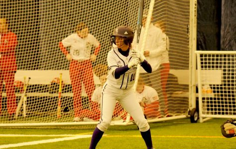 Senior Katie Kolb bats for the Winona State Warriors during a Feb. 11 game against Grand View University at Rochester Community and Techinical College's dome. The team would win both of their games against Grand View by scores of 8-0 and 8-4.