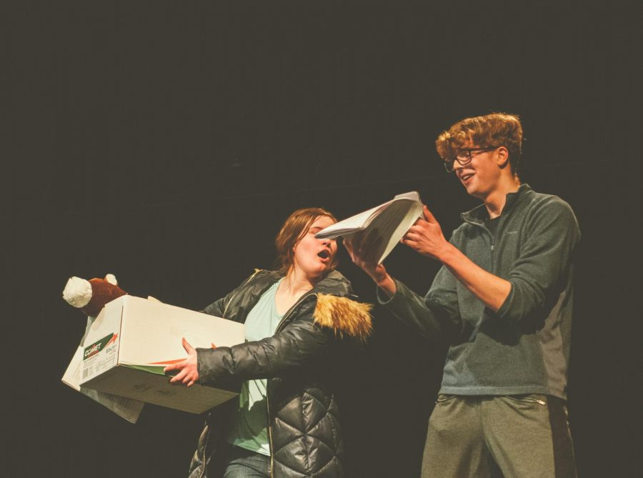 """Julia Bark(left) plays Captain America and Nicholas Kendall(right) plays Cotton Man in the first play of the night, called """"Averagers: Fin."""