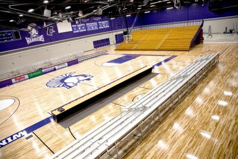 The McCown Gymnasium in the Integrated Wellness Complex being prepared for a Winona State Warriors home basketball game before COVID-19 caused the university to adhere to new regulations.