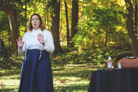 Terri Lieder, playing the role of Elizabeth Lynch Shuler, a nurse who died during the influenza epidemic, at the Voices from the Past: Cemetery Walk event held inside Woodlawn Cemetery on Saturday Oct. 10.  This event is designed to experience some history and explore the lives of past Winonans.