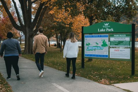 The views from Lake Park in the fall are incredible. Many students take the opportunity to get exercise while walking around the large lake in Winona.