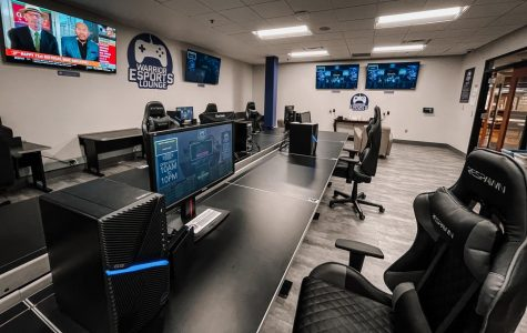 "The Warrior Esports Lounge is open to  students with eight gaming PC's, six  Nintendo Switch's and five 65"" Sony TV's for use. Students must wear a mask inside, social distance and sanitize the equipment after they are done playing."