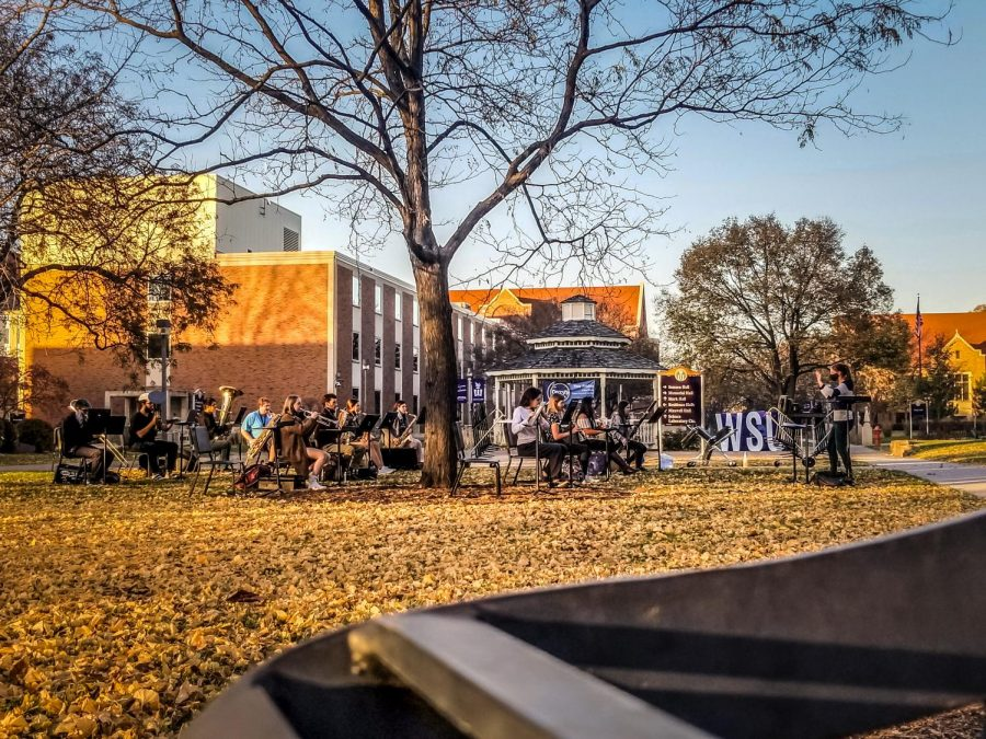 """The Winona State University symphonic band rehearsed Wolfgang Amadeus Mozart's """"Die Zauberflöte"""" outdoors across campus in small groups on Wednesday, Nov. 4."""