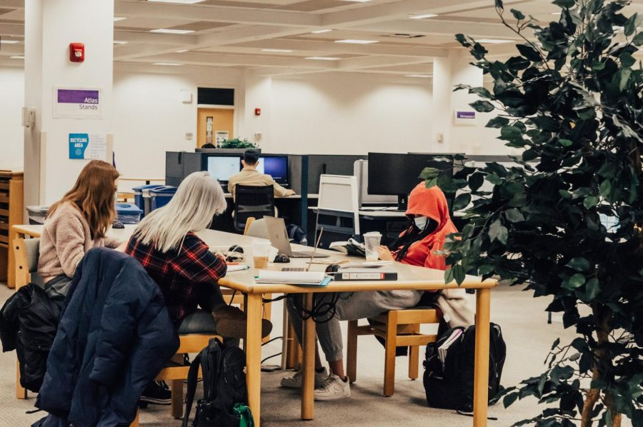 Winona State students at the Darrell W. Krueger Library in a study setting following the COVID-19 severity level of the university transitioning from orange to yellow. Students and faculty can occupy the library, gyms, studios and fitness centers at 25% normal capacity.