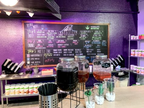 WAV Nutrition is a smoothie bar, whose interior features a lounge and drink counter.The drink menu features a variety of made to order healthy energy drinks and meal replacements.