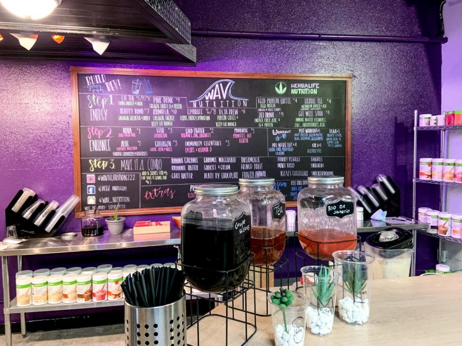 WAV+Nutrition+is+a+smoothie+bar%2C+whose+interior+features+a+lounge+and+drink+counter.The+drink+menu+features+a+variety+of+made+to+order+healthy+energy+drinks+and+meal+replacements.+