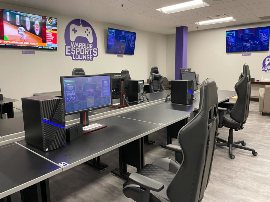 Computers, and gaming chairs adorn the desks at the Warrior Esports Lounge. The surrounding TV's stream games for spectators to view. The  Warrior Network collaborated to use the lounge for a Rocket League event during last Friday's Kryzsko After Dark event.