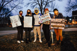 Winona State University club, WSU Students for Reproductive Justice, coordinated a protest of the Warriors for Life event that was held at 7:30 p.m. on March 22 outside of Kryzsko Commons. Roughly 45-50 people participated in the protest through reproductive justice-inspired signs, inlcuding the students pictured. COVID-19 guidelines were enforced by Reproductive Justice club members.