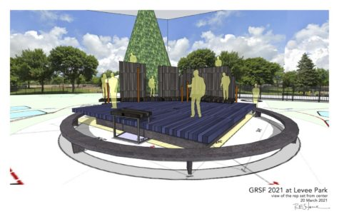 Contributed photo from Great River  Shakespeare Festival details the proposed stage layout atop the drain cover.