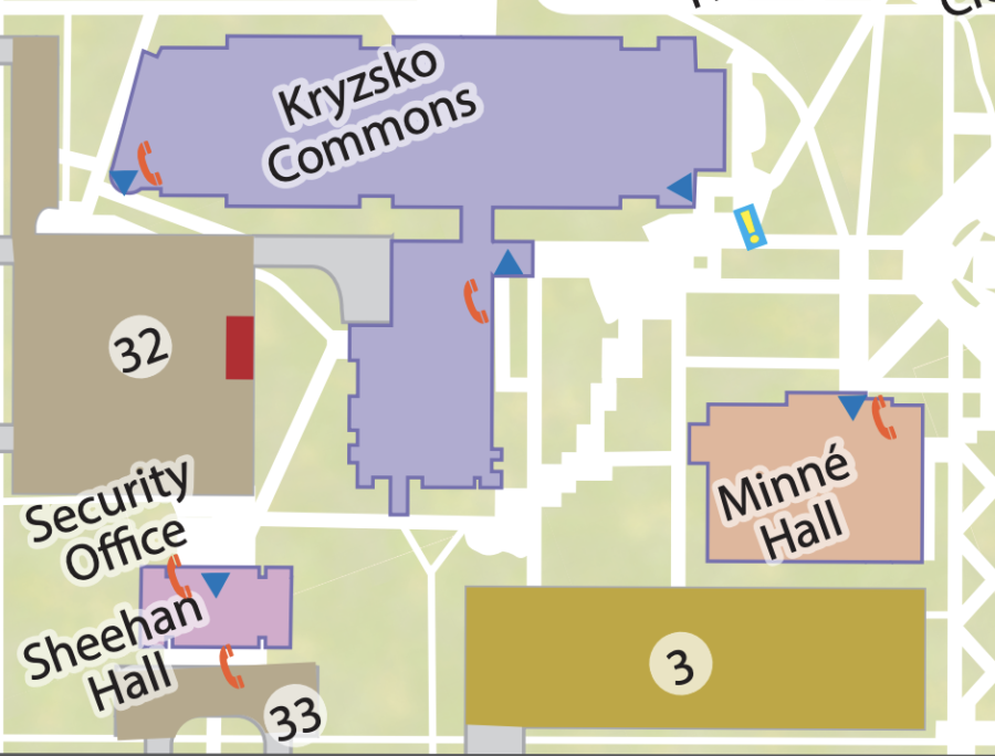 Part of the Main Campus Printable Map from Winona State University's website displaying where the catalytic converter theft occurred (the area labeled