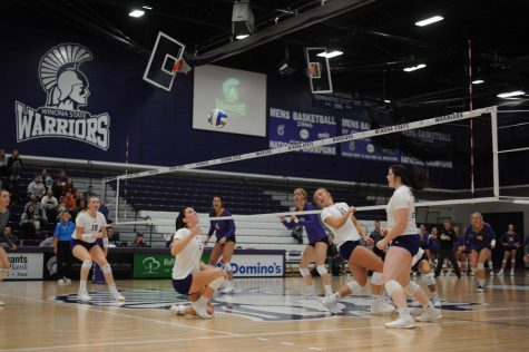 Left to right: Cori Meyers, Bre Maloney, Madison Rizner and Kate Masberg move to return the ball against Minnesota State University, Mankato on Saturday, Nov. 2 where the Warriors came out victorious scoring 3-1. The win brings the teams season record to 18 wins and five losses.